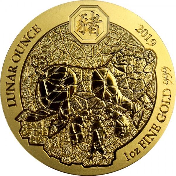 Zlatá mince Rok Vepře Rwanda 1 Oz 2019